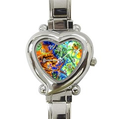Abstract Fractal Batik Art Green Blue Brown Heart Italian Charm Watch by EDDArt
