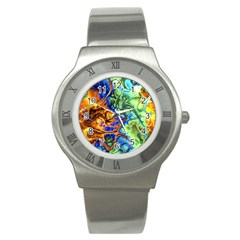 Abstract Fractal Batik Art Green Blue Brown Stainless Steel Watch by EDDArt