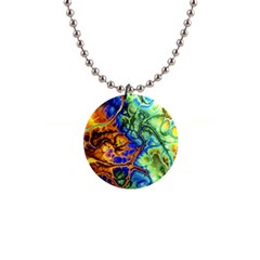 Abstract Fractal Batik Art Green Blue Brown Button Necklaces by EDDArt