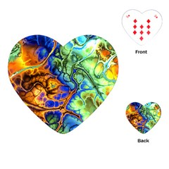 Abstract Fractal Batik Art Green Blue Brown Playing Cards (heart)  by EDDArt