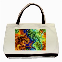 Abstract Fractal Batik Art Green Blue Brown Basic Tote Bag by EDDArt