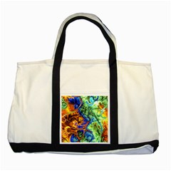 Abstract Fractal Batik Art Green Blue Brown Two Tone Tote Bag