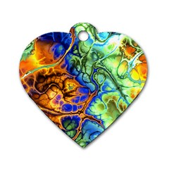 Abstract Fractal Batik Art Green Blue Brown Dog Tag Heart (Two Sides)