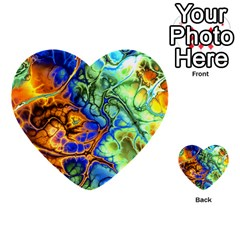Abstract Fractal Batik Art Green Blue Brown Multi Purpose Cards (heart)  by EDDArt