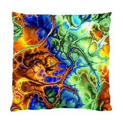 Abstract Fractal Batik Art Green Blue Brown Standard Cushion Case (Two Sides)