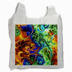 Abstract Fractal Batik Art Green Blue Brown Recycle Bag (two Side)  by EDDArt