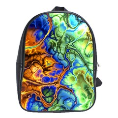 Abstract Fractal Batik Art Green Blue Brown School Bags(large)  by EDDArt