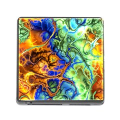 Abstract Fractal Batik Art Green Blue Brown Memory Card Reader (square) by EDDArt