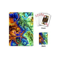 Abstract Fractal Batik Art Green Blue Brown Playing Cards (mini)  by EDDArt