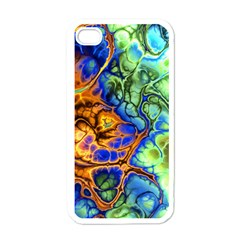 Abstract Fractal Batik Art Green Blue Brown Apple Iphone 4 Case (white) by EDDArt