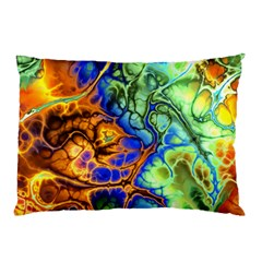 Abstract Fractal Batik Art Green Blue Brown Pillow Case (two Sides) by EDDArt