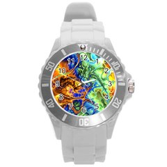 Abstract Fractal Batik Art Green Blue Brown Round Plastic Sport Watch (l) by EDDArt