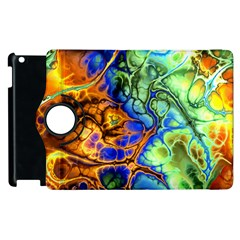 Abstract Fractal Batik Art Green Blue Brown Apple Ipad 2 Flip 360 Case by EDDArt