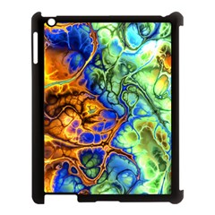 Abstract Fractal Batik Art Green Blue Brown Apple Ipad 3/4 Case (black) by EDDArt