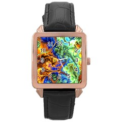 Abstract Fractal Batik Art Green Blue Brown Rose Gold Leather Watch  by EDDArt