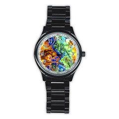 Abstract Fractal Batik Art Green Blue Brown Stainless Steel Round Watch