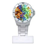 Abstract Fractal Batik Art Green Blue Brown Plastic Nurses Watch Front