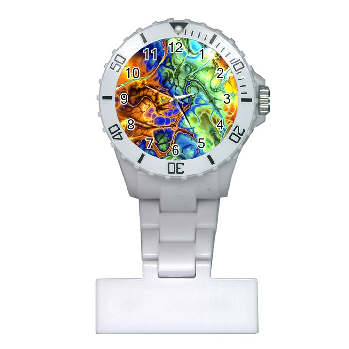 Abstract Fractal Batik Art Green Blue Brown Plastic Nurses Watch