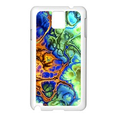 Abstract Fractal Batik Art Green Blue Brown Samsung Galaxy Note 3 N9005 Case (white) by EDDArt
