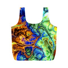 Abstract Fractal Batik Art Green Blue Brown Full Print Recycle Bags (m)  by EDDArt