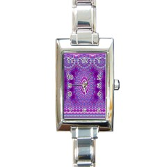 India Ornaments Mandala Pillar Blue Violet Rectangle Italian Charm Watch