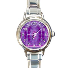 India Ornaments Mandala Pillar Blue Violet Round Italian Charm Watch