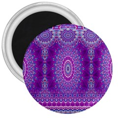 India Ornaments Mandala Pillar Blue Violet 3  Magnets