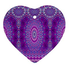India Ornaments Mandala Pillar Blue Violet Ornament (Heart)