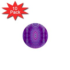 India Ornaments Mandala Pillar Blue Violet 1  Mini Magnet (10 pack)
