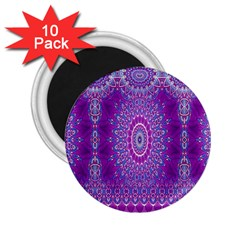 India Ornaments Mandala Pillar Blue Violet 2.25  Magnets (10 pack)