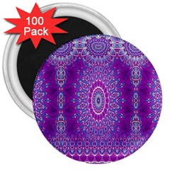 India Ornaments Mandala Pillar Blue Violet 3  Magnets (100 pack)