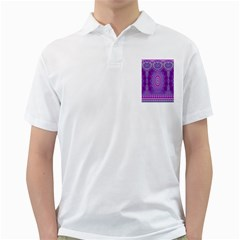 India Ornaments Mandala Pillar Blue Violet Golf Shirts