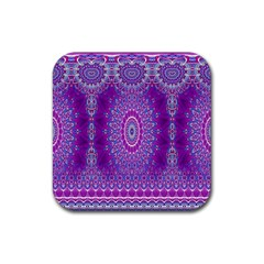 India Ornaments Mandala Pillar Blue Violet Rubber Coaster (Square)