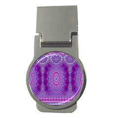 India Ornaments Mandala Pillar Blue Violet Money Clips (Round)