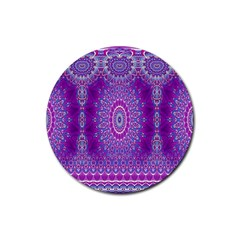 India Ornaments Mandala Pillar Blue Violet Rubber Round Coaster (4 pack)