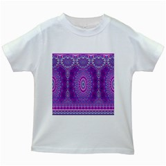 India Ornaments Mandala Pillar Blue Violet Kids White T-Shirts