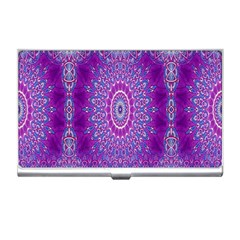 India Ornaments Mandala Pillar Blue Violet Business Card Holders
