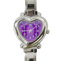 India Ornaments Mandala Pillar Blue Violet Heart Italian Charm Watch
