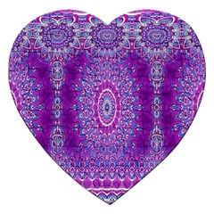 India Ornaments Mandala Pillar Blue Violet Jigsaw Puzzle (Heart)