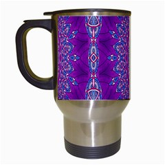 India Ornaments Mandala Pillar Blue Violet Travel Mugs (White)