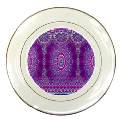 India Ornaments Mandala Pillar Blue Violet Porcelain Plates