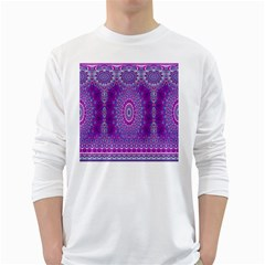 India Ornaments Mandala Pillar Blue Violet White Long Sleeve T-Shirts