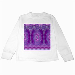 India Ornaments Mandala Pillar Blue Violet Kids Long Sleeve T-Shirts