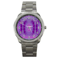 India Ornaments Mandala Pillar Blue Violet Sport Metal Watch