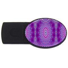 India Ornaments Mandala Pillar Blue Violet USB Flash Drive Oval (4 GB)