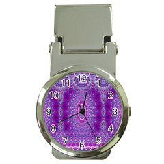 India Ornaments Mandala Pillar Blue Violet Money Clip Watches
