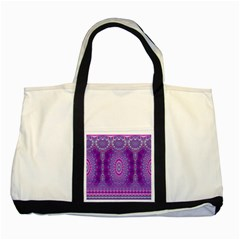 India Ornaments Mandala Pillar Blue Violet Two Tone Tote Bag
