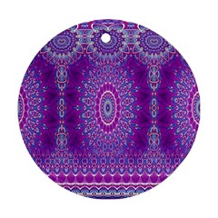 India Ornaments Mandala Pillar Blue Violet Round Ornament (Two Sides)