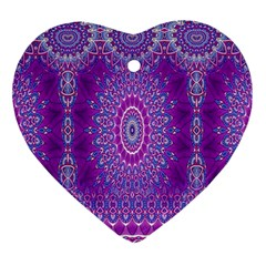 India Ornaments Mandala Pillar Blue Violet Heart Ornament (2 Sides)
