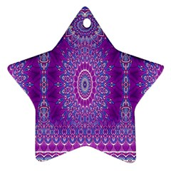 India Ornaments Mandala Pillar Blue Violet Star Ornament (Two Sides)